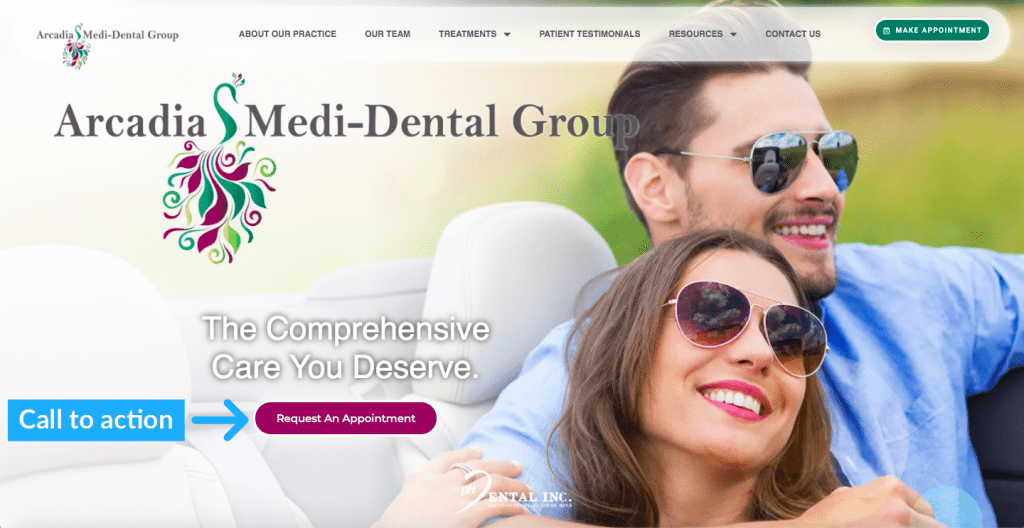 use contrast to make CTA buttons stand out in dental website