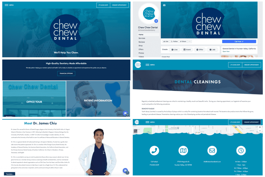 Chew Chew Dental's consistent branding in website design and social media