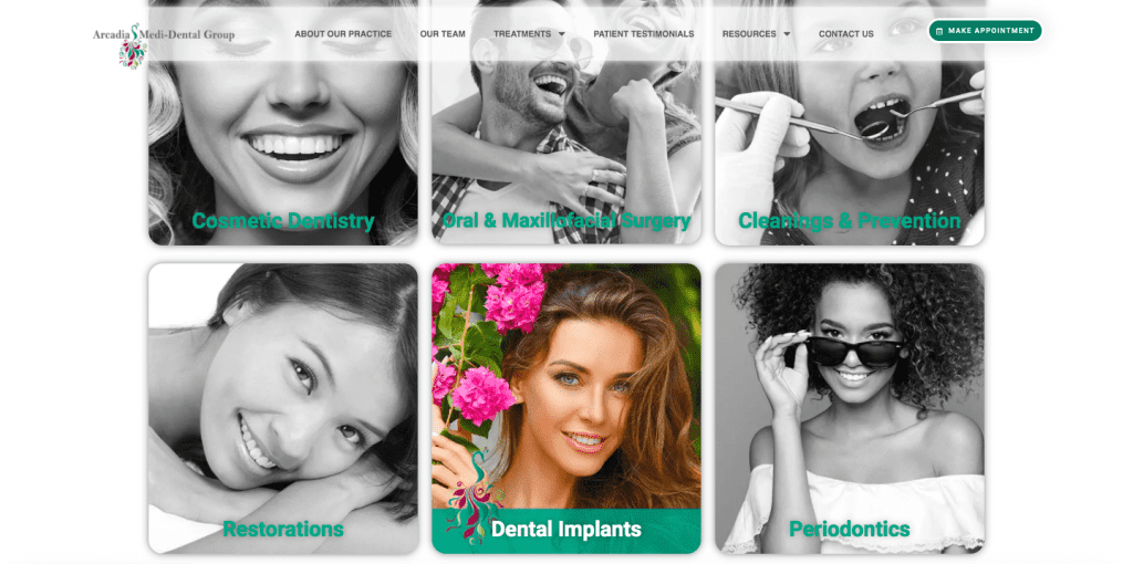 example of using human faces in dental website design