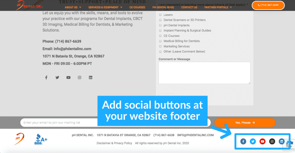 example of social buttons in ph dental website