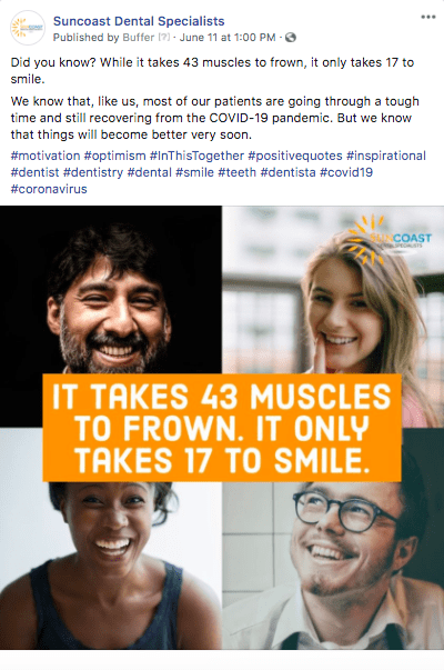 dental practice motivational social media post example