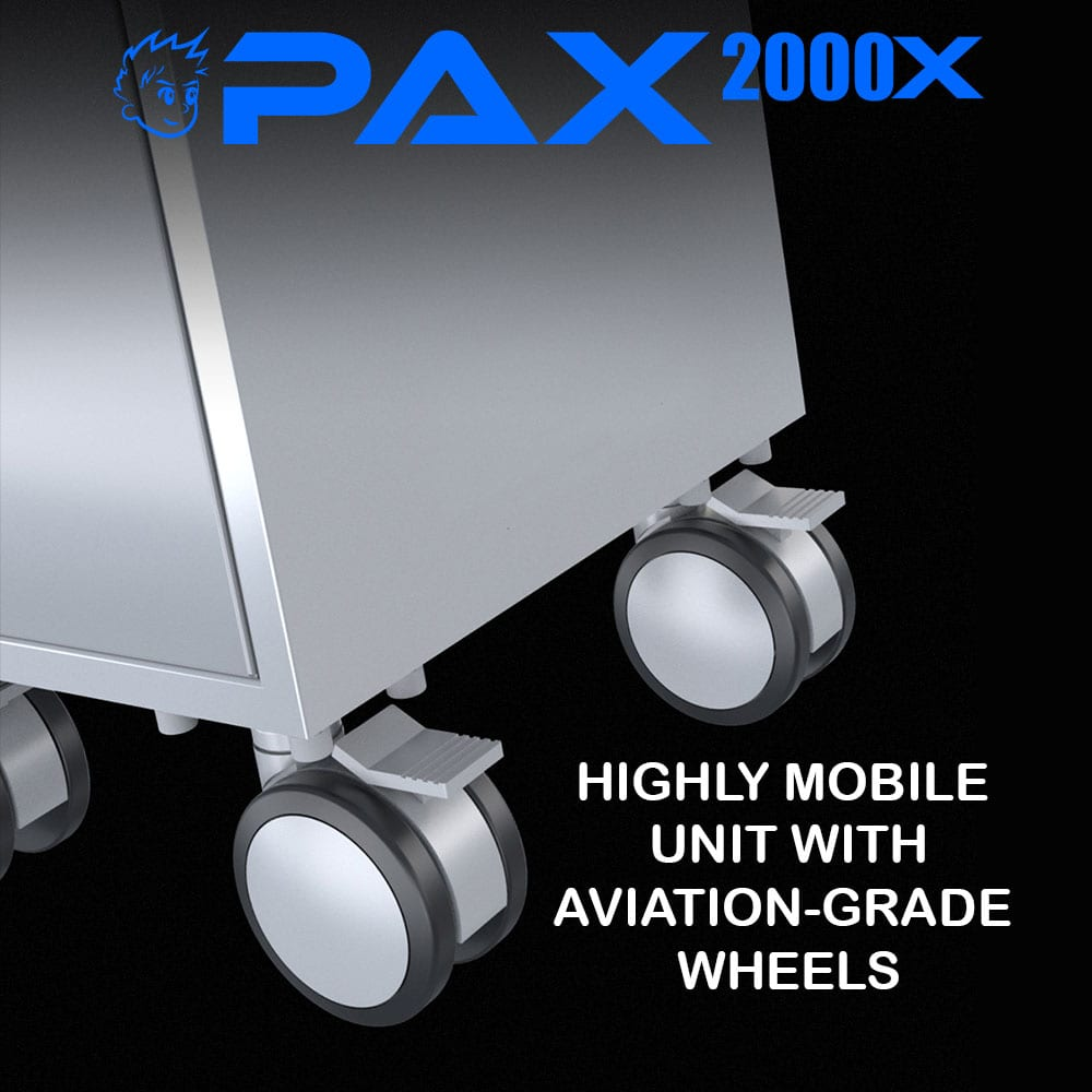 PAX2000X extraoral dental suction system wheels