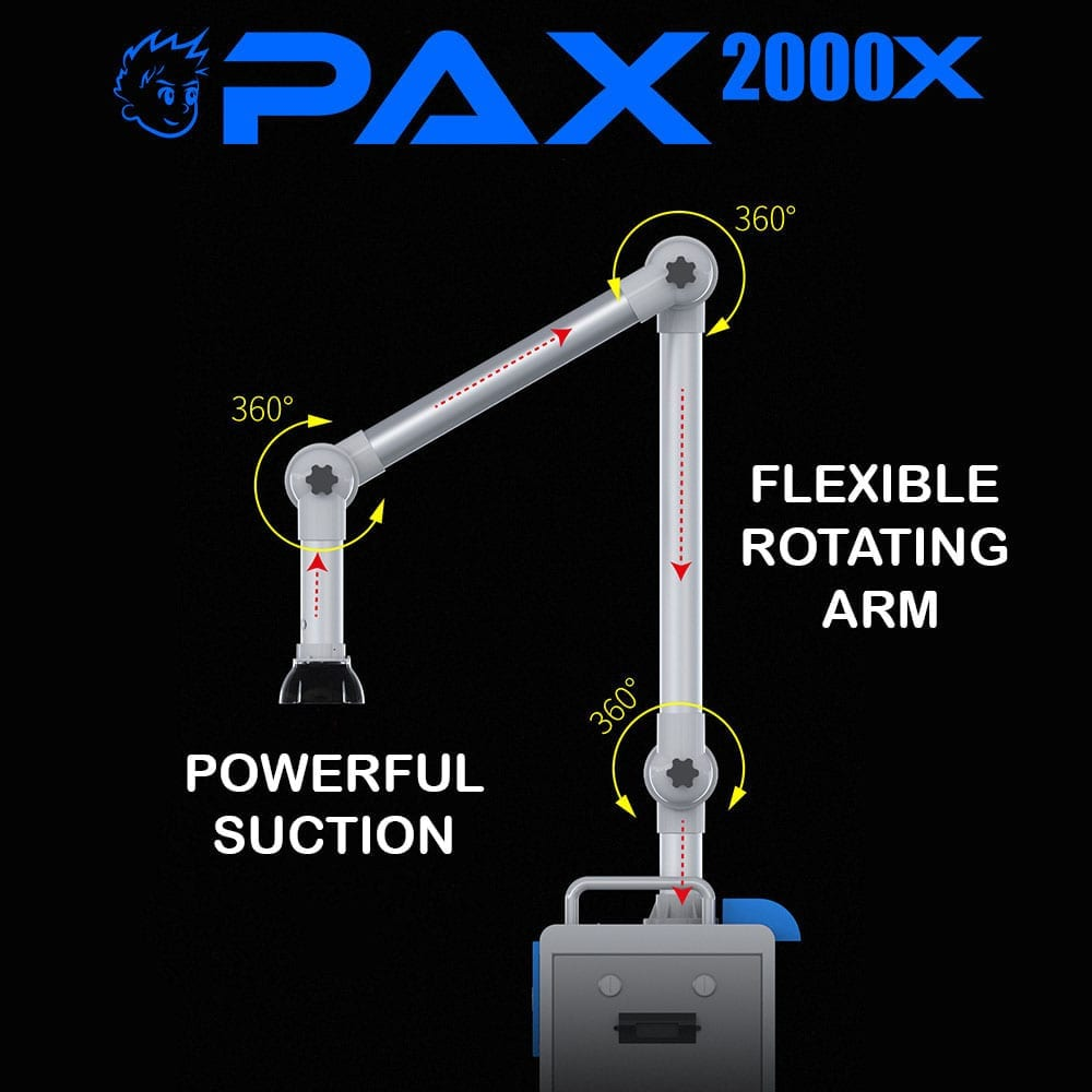 PAX2000X extraoral dental suction system flexible rotating arm