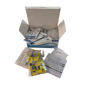 box of covid-19 test kits