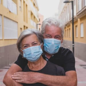 picture of a Old couple wearing comfortable Masks